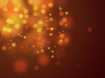 Golden blured circles. Golden falling sparkles and bright circles Stock Images