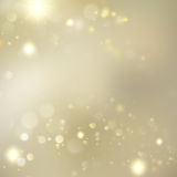 Golden Blurred Bokeh Background With Stars. EPS 10 vector Royalty Free Stock Photography