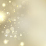 Golden Blurred Bokeh Background With Stars. EPS 10 vector. Golden Blurred Bokeh Background With Stars. Holiday Abstract Glitter Defocused Template. And also Royalty Free Stock Photography