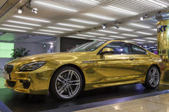 Golden BMW at the Frankfurt Airport Stock Photos