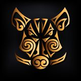 Golden boar head isolated on black background. Stylized Maori face tattoo. vector illustration