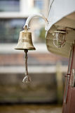 Golden boat bell on a ship Royalty Free Stock Images