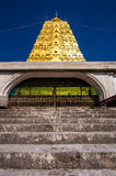 Golden Bodh Gaya pagoda with blue sky in district Sangkhlaburi, Stock Image