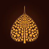 Golden Bodhi leaf symbol in Thai art style. Isolate on black background, vector illustration Stock Photography