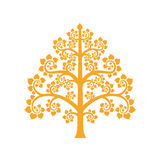 Golden Bodhi Tree Symbol With Thai Style Isolate On Background Stock Photography