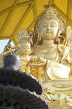 Golden Bodhisattva and black incense burner Royalty Free Stock Images