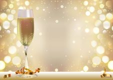 Golden Bokeh Background with Champagne Glass vector illustration