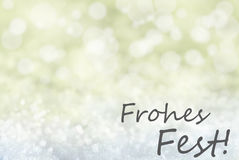 Golden Bokeh Background, Snow, Frohes Fest Means Merry Christmas Stock Images