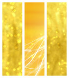 Golden bokeh banners. Golden greetings as bokeh set banners Royalty Free Stock Photos