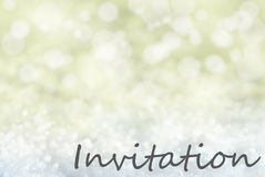 Golden Bokeh Christmas Background, Snow, Text Invitation Royalty Free Stock Photography