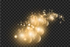 Golden bokeh light effect explosion with sparks vector illustration
