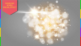 Golden bokeh light effect explosion with sparks modern design Royalty Free Stock Photo