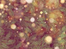 Golden bokeh light garland on Christmas tree. EPS 10 stock illustration