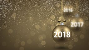 Golden shining 2018 New Year background. Royalty Free Stock Photo
