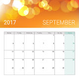 Golden bokeh september 2017 calendar. Weeks start on monday Royalty Free Stock Photos