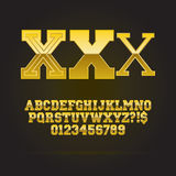 Golden Bold Font and Numbers. Eps 10 Vector, Editable for any background Stock Images