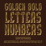 Golden bold letters, numbers, dollar and euro currency signs, exclamation and question marks.  royalty free illustration