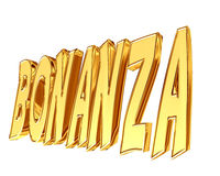 Golden Bonanza text on a white background. Closeup stock illustration