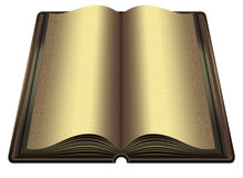 The Golden Book. Open brown table book with gold lettering on the pages Stock Photo