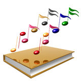 Golden Book And Colorful Music Notes Icon