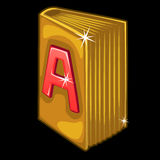 Golden book with red letter A on cover. Vector Stock Image