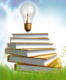 Golden Books And Ideas Bulb Stock Photos
