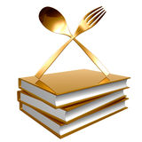 Golden books about culinary icon Royalty Free Stock Photos