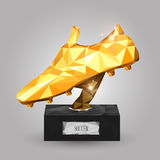 Golden boot trophy. Geometric golden boot trophy on gray background Royalty Free Stock Photography