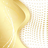 Golden border. Abstract golden border with waves and dots. EPS 10 Stock Photos
