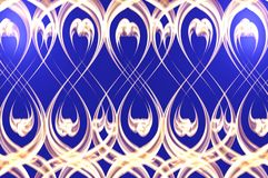 Golden border. Border made of wave golden decor on the blue Stock Photography