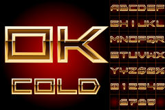 Golden bordered typeface. File contains graphic styles available in the Illustrator 10 + You can apply the styles to any of you own fonts or objects Stock Photos