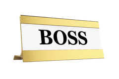 Golden Boss Identification Plate. 3d Rendering Stock Image