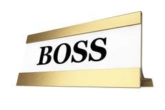 Golden Boss Identification Plate. 3d Rendering Stock Photos