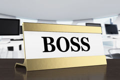 Golden Boss Identification Plate. 3d Rendering Royalty Free Stock Photo