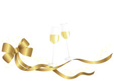 Golden bow and champagne glasses. On white Royalty Free Stock Images