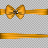 Golden bow decoration with horizontal ribbons on transparent background. Gift card vector illustration. Decorative design element Royalty Free Stock Image