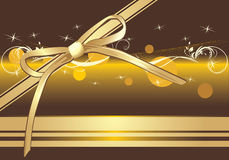 Golden bow on the decorative background. Banner Stock Images