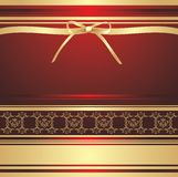 Golden bow on the decorative background. Wrapping Stock Images