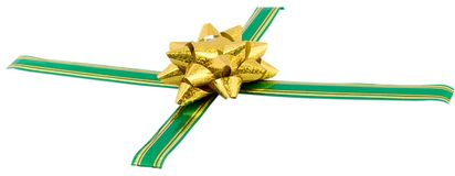 Golden bow on green ribbon Royalty Free Stock Images