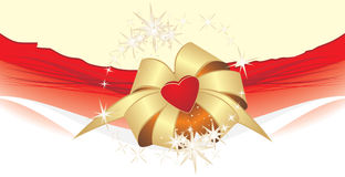 Golden bow with heart on the decorative background. Holiday banner. Illustration Stock Photography