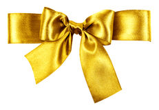 Golden bow made from silk Stock Photography