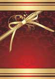 Golden bow with ornament. Decorative background Stock Images