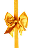 Golden bow photo made from silk Royalty Free Stock Photo
