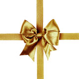 Golden bow photo made from silk Stock Photos