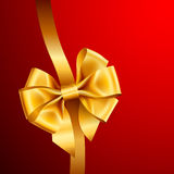 Golden bow on red background. Vector illustration Royalty Free Stock Photo