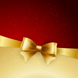 Golden bow on red background. Vector illustration Stock Images