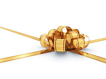Golden bow and ribbon. Illustration of golden bow and ribbon isolated on white Stock Photography