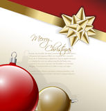 Golden bow on a ribbon with background. Golden bow on a ribbon with white and red background and baubles -  Christmas card Stock Photo