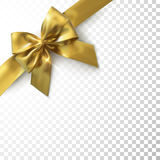 Golden Bow And Ribbon. Golden Bow And Ribbon On Checkered Transparent Background. Vector Holiday Illustration. Realistic Isolated Decoration Element For Design Royalty Free Stock Photo