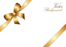 Golden bow ribbon design. Royalty Free Stock Photo